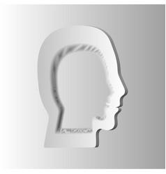 human head profile icon - paper vector image
