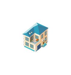 isometric facade beige house vector image