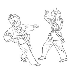 karate fight of two boys vector image