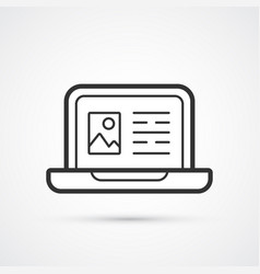 laptop blog flat line trendy black icon eps10 vector image