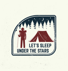 let s sleep under stars slogan summer camp vector image