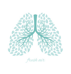 lungs with foliage vector image