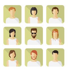 Man and woman avatar set in modern flat style vector