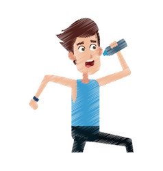 man drinking water while running icon image vector image