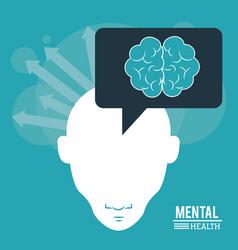 Mental health human head with brain arrows vector