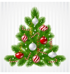 Merry Christmas background with tree and glossy vector image