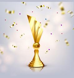 metallic trophy cup game medal vector image
