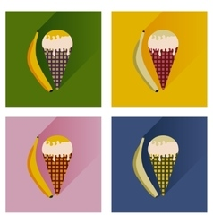 Modern flat icons collection ice cream and vector