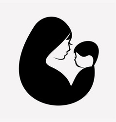muslim mother and baby stylized symbol vector image