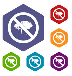 no flea sign icons set vector image vector image