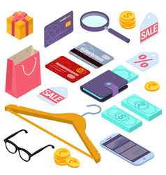 online shopping isometric design elements vector image