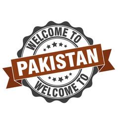 Pakistan round ribbon seal vector