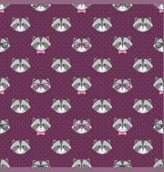 Pattern with cute cartoon raccoons with glasses vector