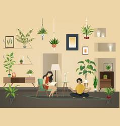 Plants at home indoor urban garden with green vector