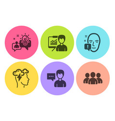 Presentation idea and mindfulness stress icons vector