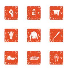 readiness icons set grunge style vector image