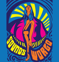 Retro style bold psychedelic sounds world poster vector