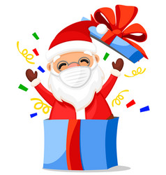 Santa claus in a medical mask peeps out a gift vector