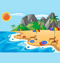 Scene with seats on the beach vector
