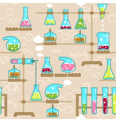 Seamless pattern with chemistry elements vector