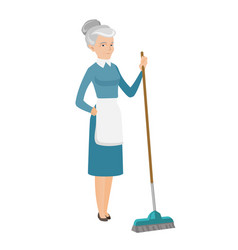 Senior housemaid sweeping floor with a broom vector