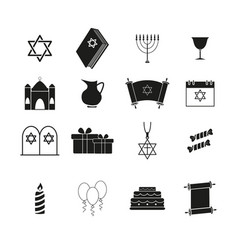 Set of hanukkah the holiday of icons vector