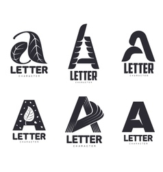 Set of letter A logo templates vector