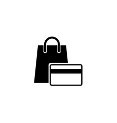 shopping bag with credit card flat icon vector image