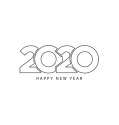 simple style lines happy new year 2020 black vector image