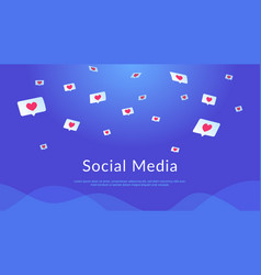 Social media speech bubbles with hearts flying in vector