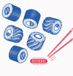 Sushi hand drawn japanese cuisine elements retro vector
