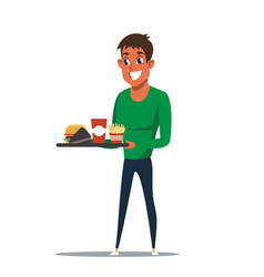 Teenager with fast food flat vector