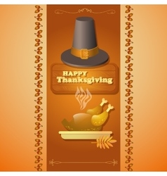 Thanksgiving of hat roast turkey and vector image