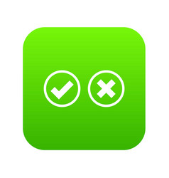 tick and cross selection icon digital green vector image
