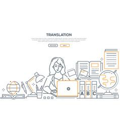 translation - modern line design style web banner vector image