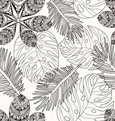 Tropical leaves hand drawn pattern vector image