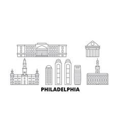 United states philadelphia line travel skyline vector