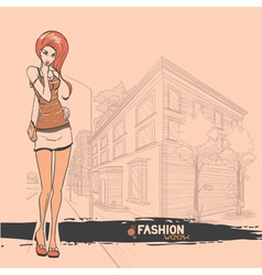 Urban city and sexy girl in short skirt vector image