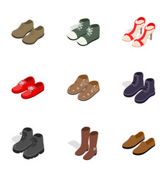 various shoes icons isometric 3d style vector image