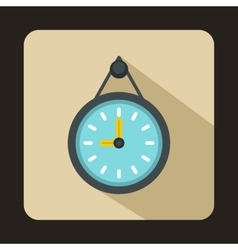 Wall office clock icon flat style vector