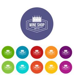 wine shop icons set color vector image