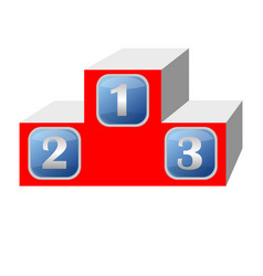 winner podium in 3d design red color blue vector image