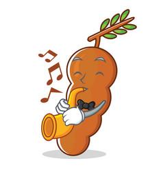 With trumpet tamarind mascot cartoon style vector