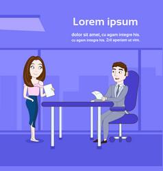woman secretary giving boss sitting at desk vector image