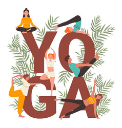 Yoga practice set cartoon vector