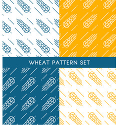 ears of wheat seamless patterns set vector image