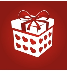Gift box on red background vector image vector image