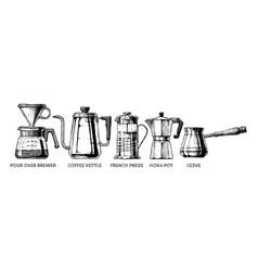 set of coffee preparation vector image vector image