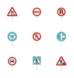 various road signs icons set flat style vector image
