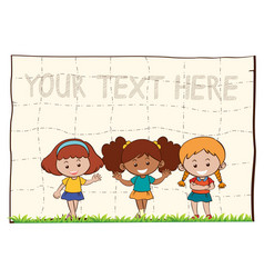 paper background with three happy girls vector image